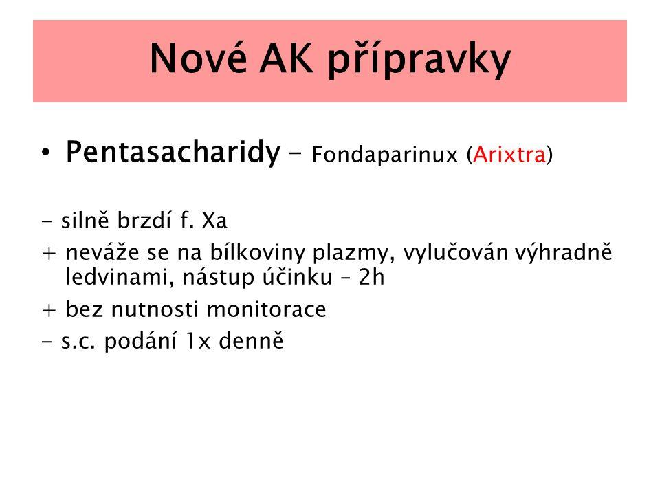 Nové AK přípravky Pentasacharidy – Fondaparinux (Arixtra)