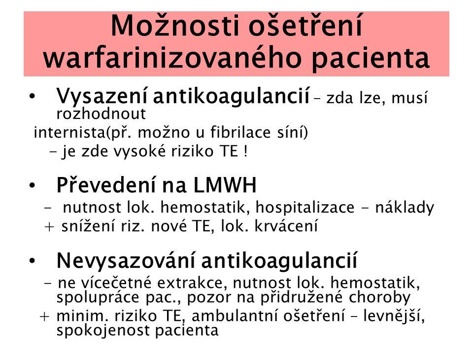 Možnosti ošetření warfarinizovaného pacienta