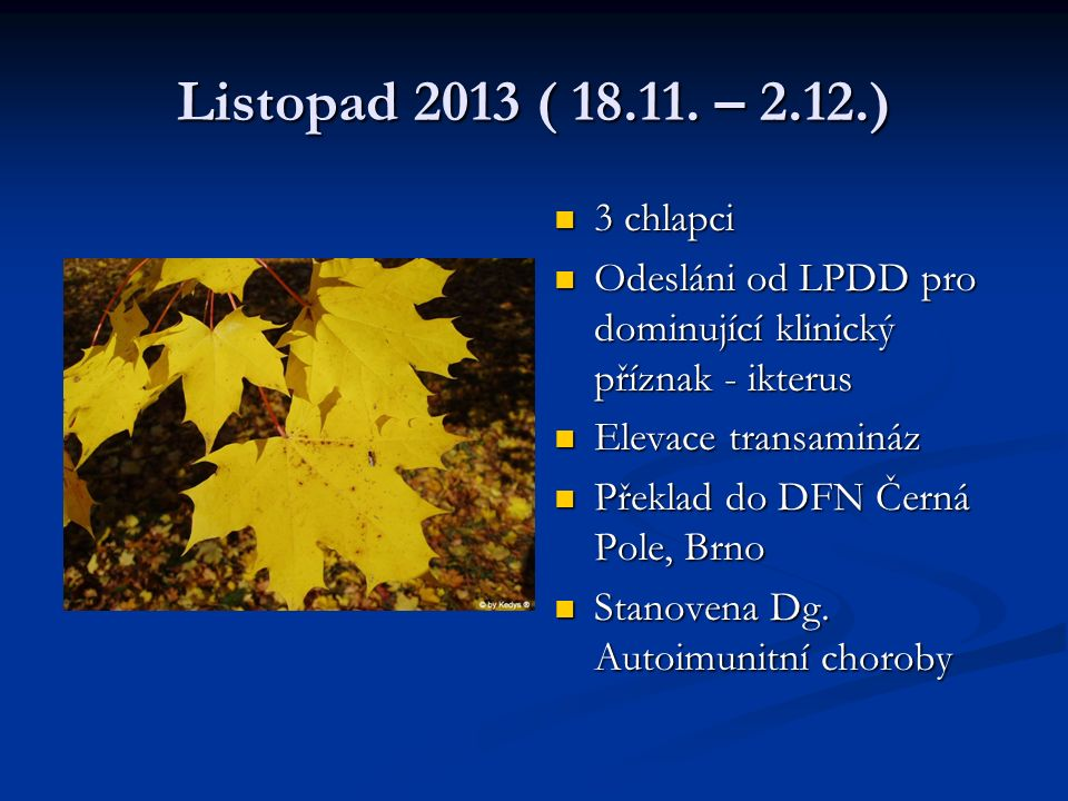 Listopad 2013 ( 18.11. – 2.12.) 3 chlapci. Odesláni od LPDD pro dominující klinický příznak - ikterus.