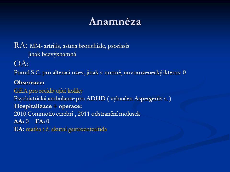 Anamnéza RA: MM- artritis, astma bronchiale, psoriasis OA: