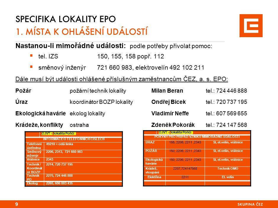 Specifika lokality TDK 1. PRVNÍ POMOC