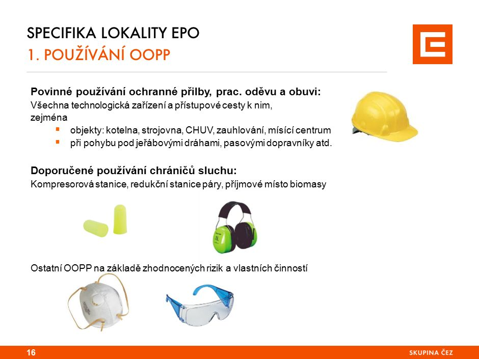Specifika lokality TDK 1. používání OOPP