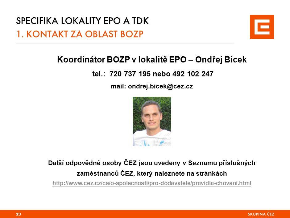 Specifika lokality EPO a TDK 2. zajištění požární ochrany