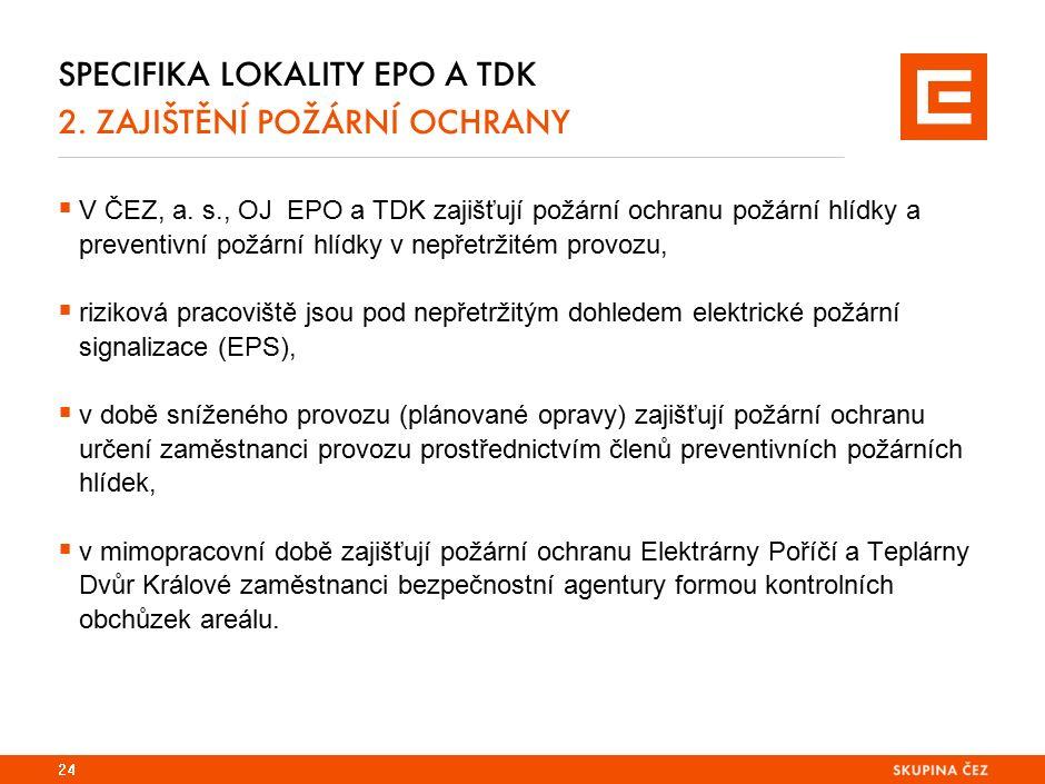 Specifika lokality EPO a TDK 2. kontaktní osoby - PO a HP
