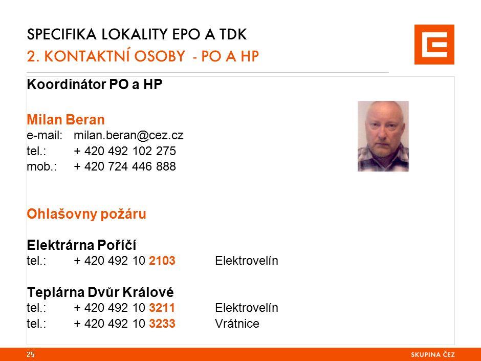 Specifika lokality EPO 2. základní informace oj