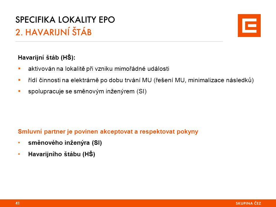 Specifika lokality EPO 2. PLÁN SHROMAŽDIŠTĚ EPO