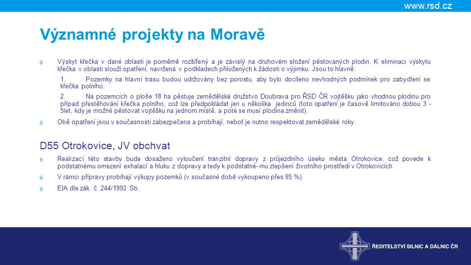 Významné projekty na Moravě