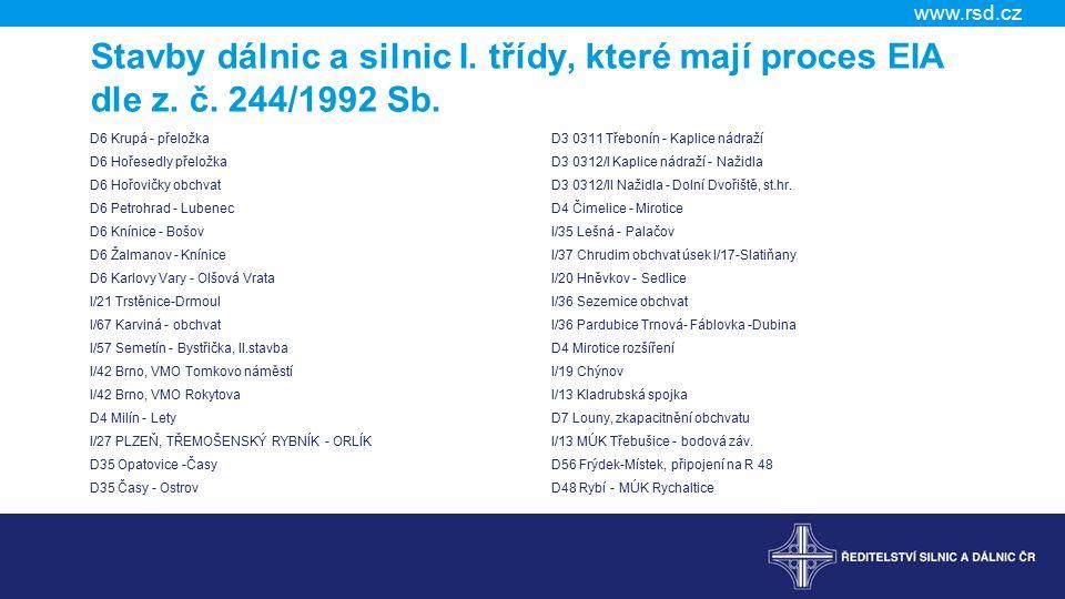 Stavby dálnic a silnic I. třídy, které mají proces EIA dle z. č