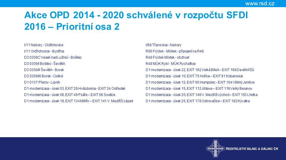Akce OPD 2014 - 2020 schválené v rozpočtu SFDI 2016 – Prioritní osa 2