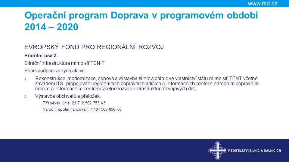Operační program Doprava v programovém období 2014 – 2020