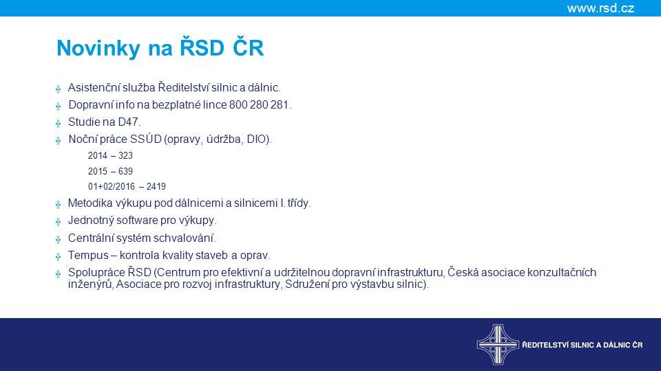 Novinky na ŘSD ČR Asistenční služba Ředitelství silnic a dálnic.