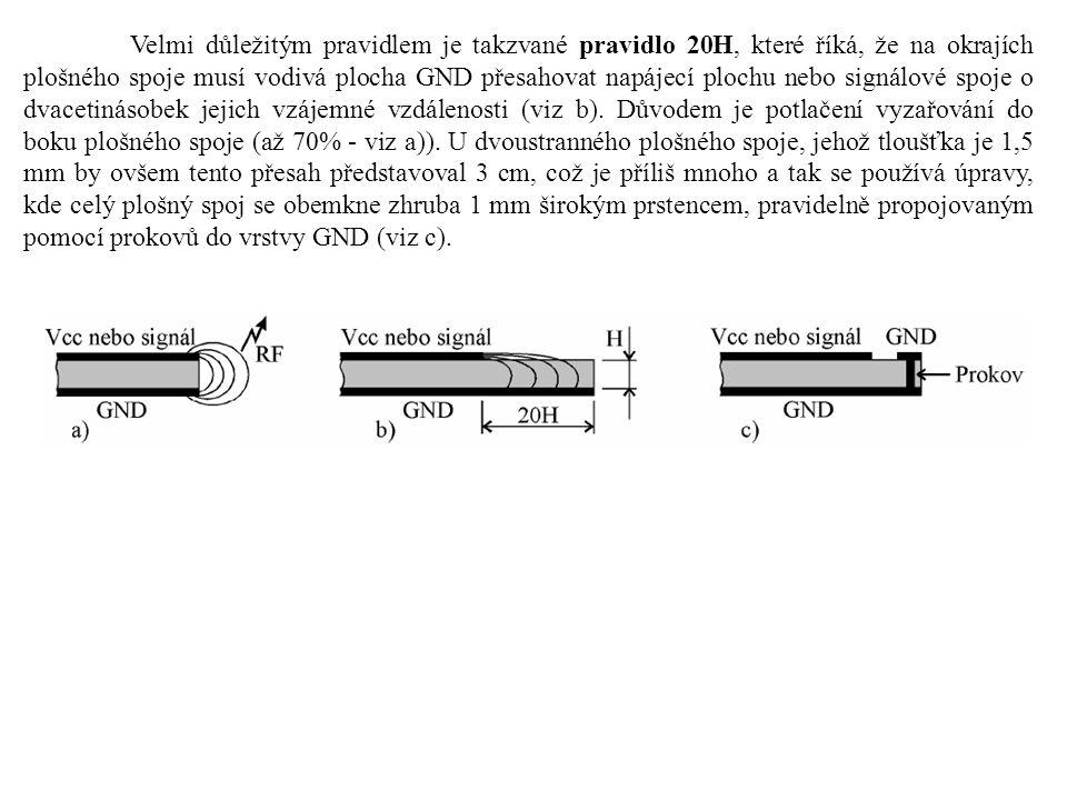 Velmi důležitým pravidlem je takzvané pravidlo 20H, které říká, že na okrajích plošného spoje musí vodivá plocha GND přesahovat napájecí plochu nebo signálové spoje o dvacetinásobek jejich vzájemné vzdálenosti (viz b).
