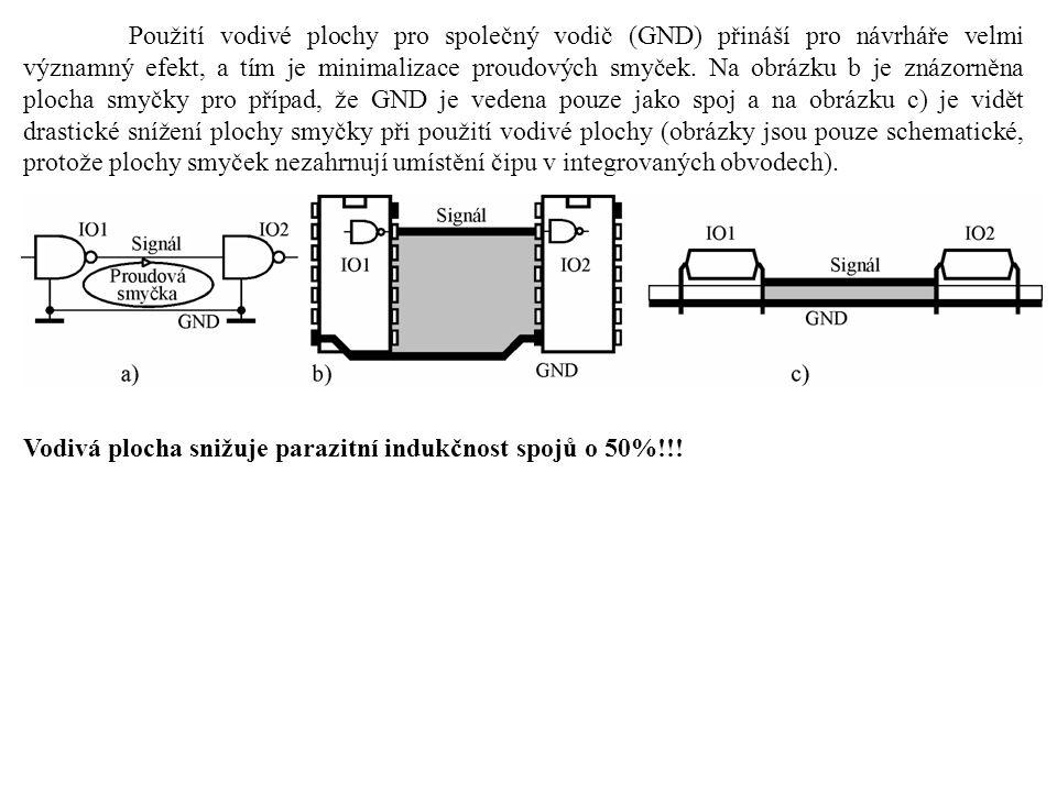 Použití vodivé plochy pro společný vodič (GND) přináší pro návrháře velmi významný efekt, a tím je minimalizace proudových smyček. Na obrázku b je znázorněna plocha smyčky pro případ, že GND je vedena pouze jako spoj a na obrázku c) je vidět drastické snížení plochy smyčky při použití vodivé plochy (obrázky jsou pouze schematické, protože plochy smyček nezahrnují umístění čipu v integrovaných obvodech).