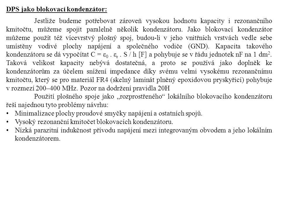 DPS jako blokovací kondenzátor: