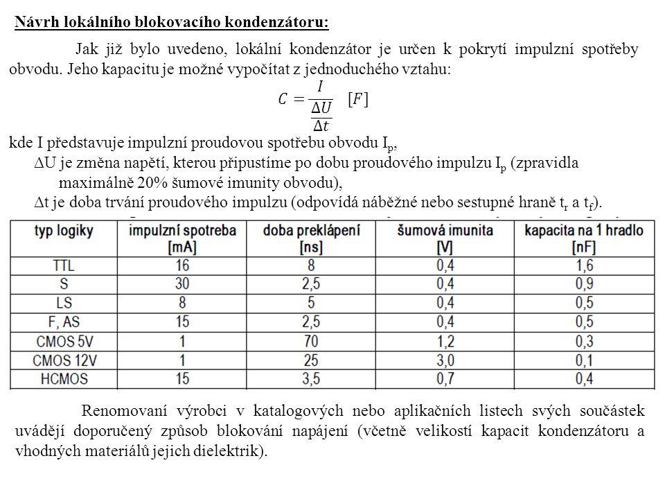 Návrh lokálního blokovacího kondenzátoru: