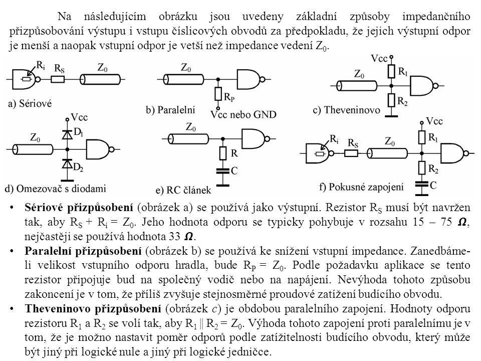 Na následujícím obrázku jsou uvedeny základní způsoby impedančního přizpůsobování výstupu i vstupu číslicových obvodů za předpokladu, že jejich výstupní odpor je menší a naopak vstupní odpor je vetší než impedance vedení Z0.