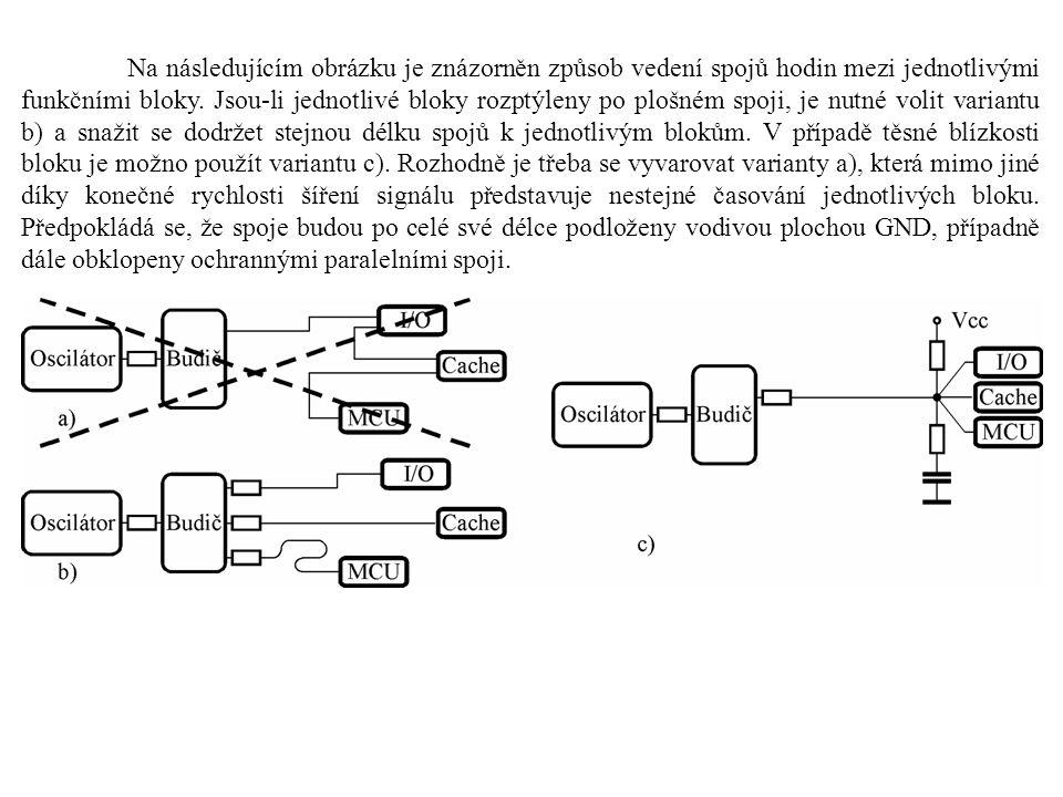 Na následujícím obrázku je znázorněn způsob vedení spojů hodin mezi jednotlivými funkčními bloky.