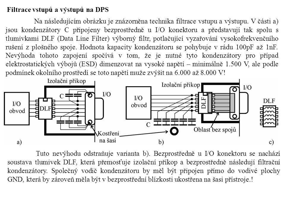 Filtrace vstupů a výstupů na DPS