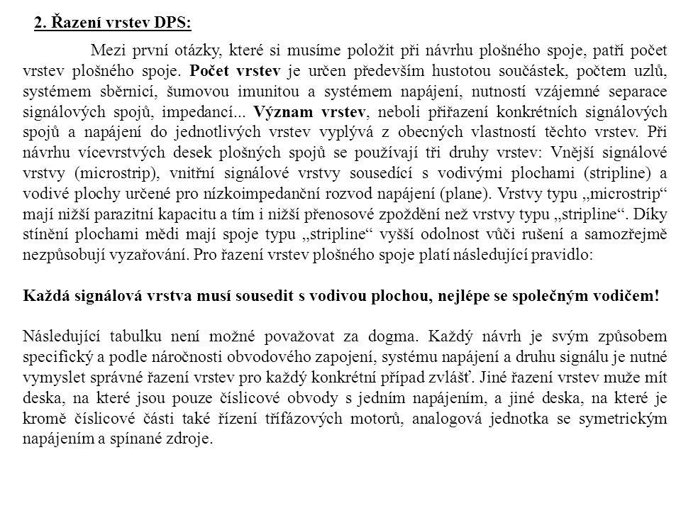 2. Řazení vrstev DPS: