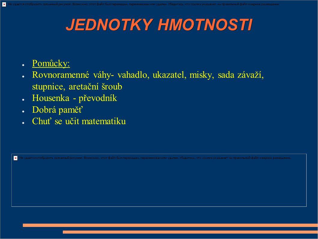 JEDNOTKY HMOTNOSTI Pomůcky: