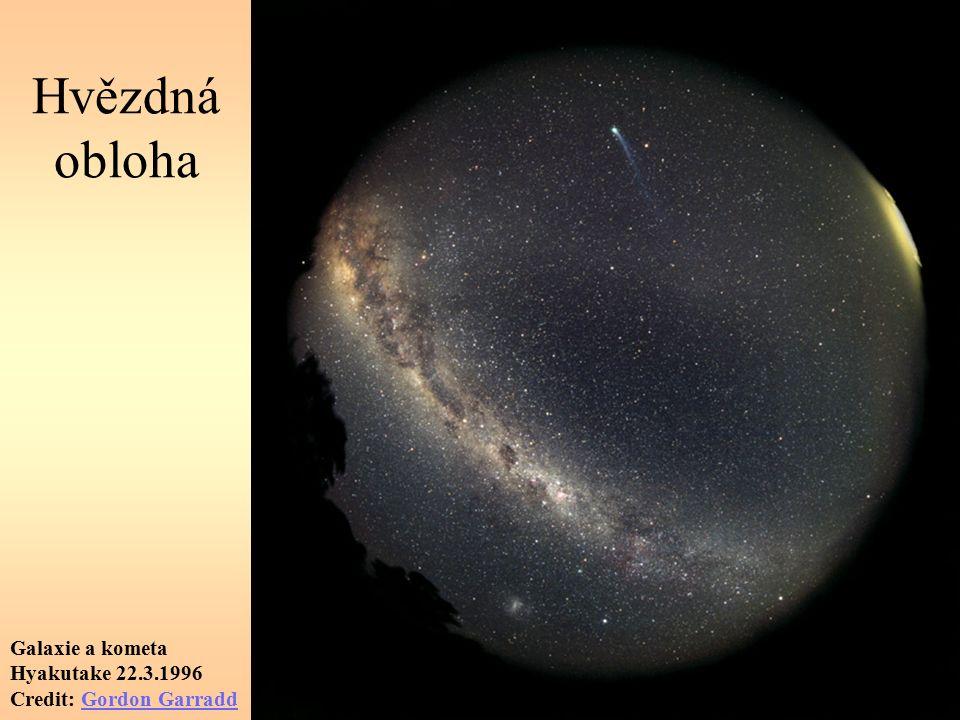 Hvězdná obloha Galaxie a kometa Hyakutake 22.3.1996