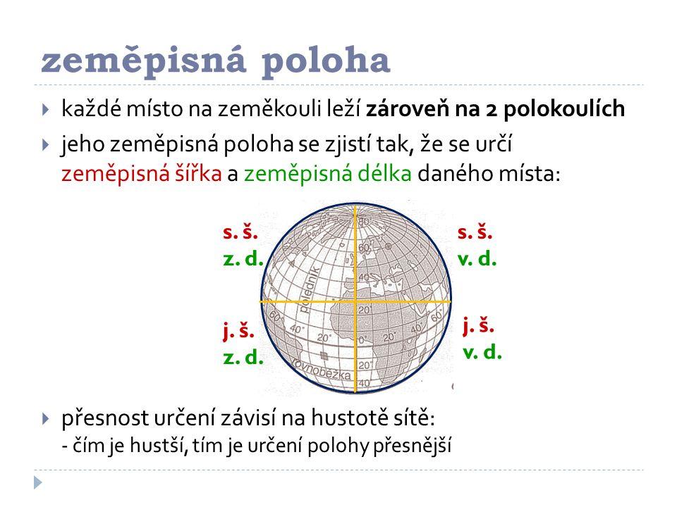 zeměpisná poloha každé místo na zeměkouli leží zároveň na 2 polokoulích.