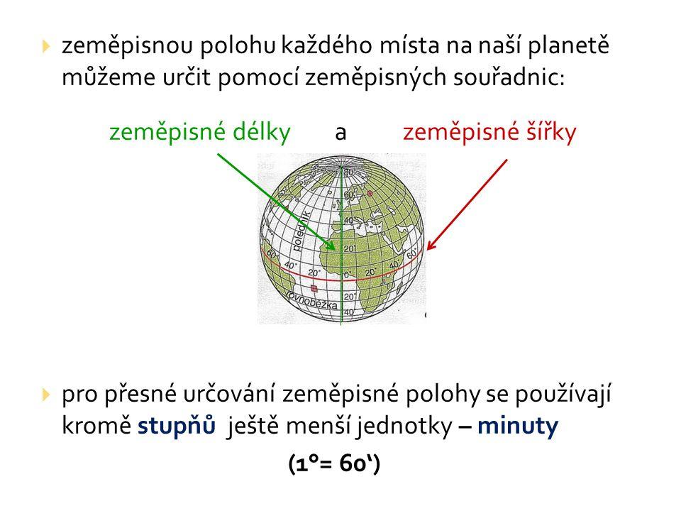 zeměpisnou polohu každého místa na naší planetě můžeme určit pomocí zeměpisných souřadnic: