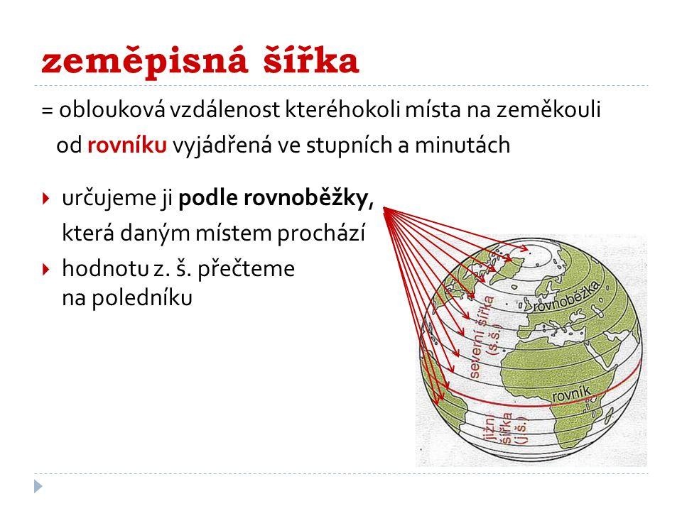 zeměpisná šířka = oblouková vzdálenost kteréhokoli místa na zeměkouli