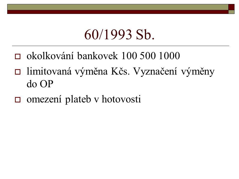 60/1993 Sb. okolkování bankovek 100 500 1000