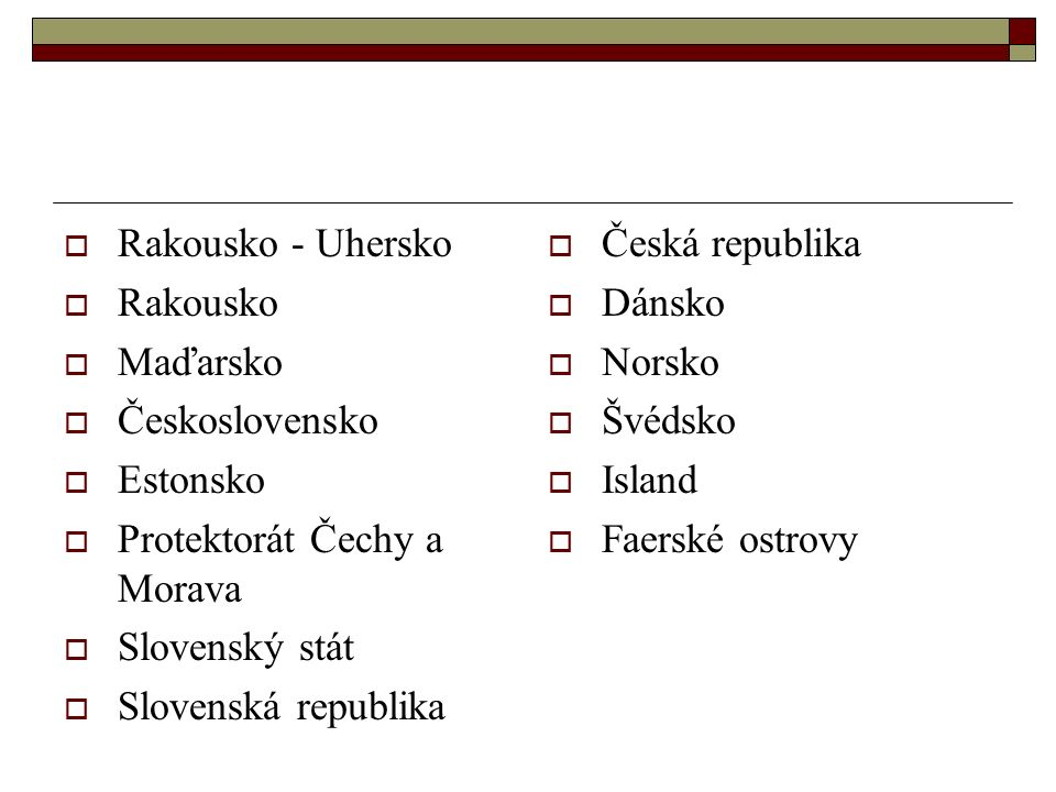 Rakousko - Uhersko Rakousko. Maďarsko. Československo. Estonsko. Protektorát Čechy a Morava. Slovenský stát.