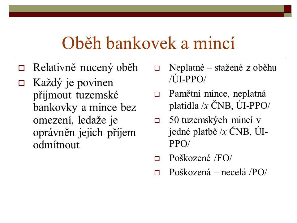 Oběh bankovek a mincí Relativně nucený oběh