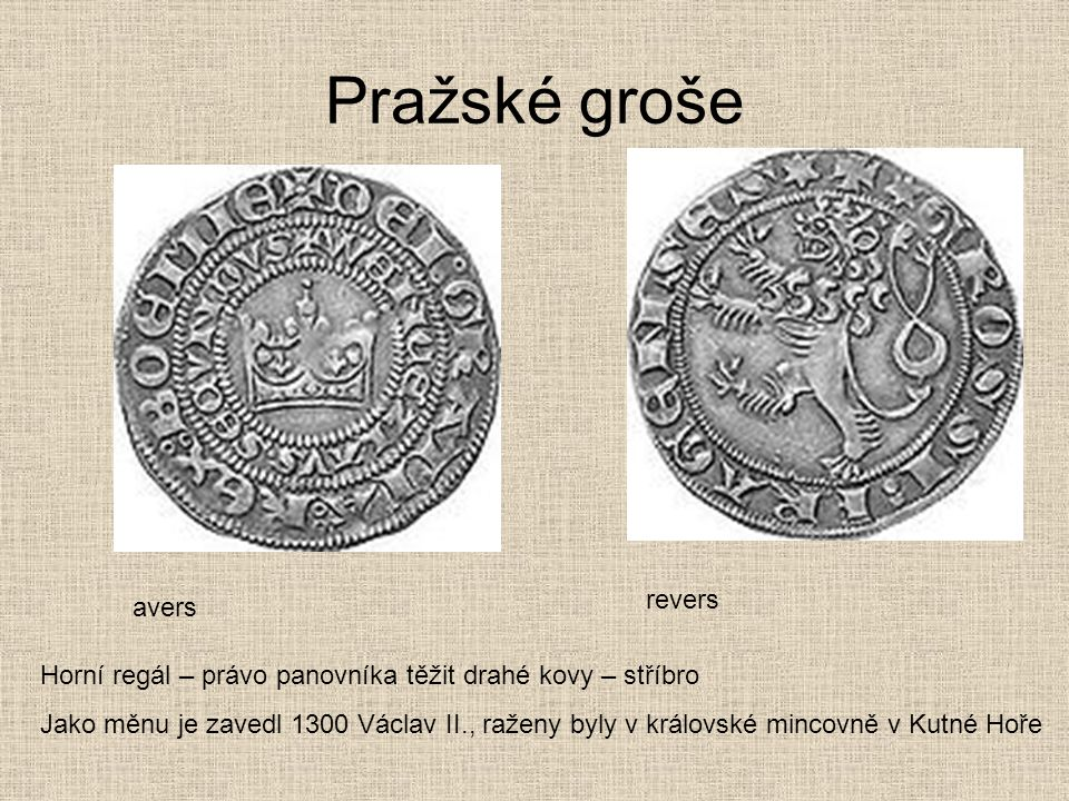 Pražské groše revers avers