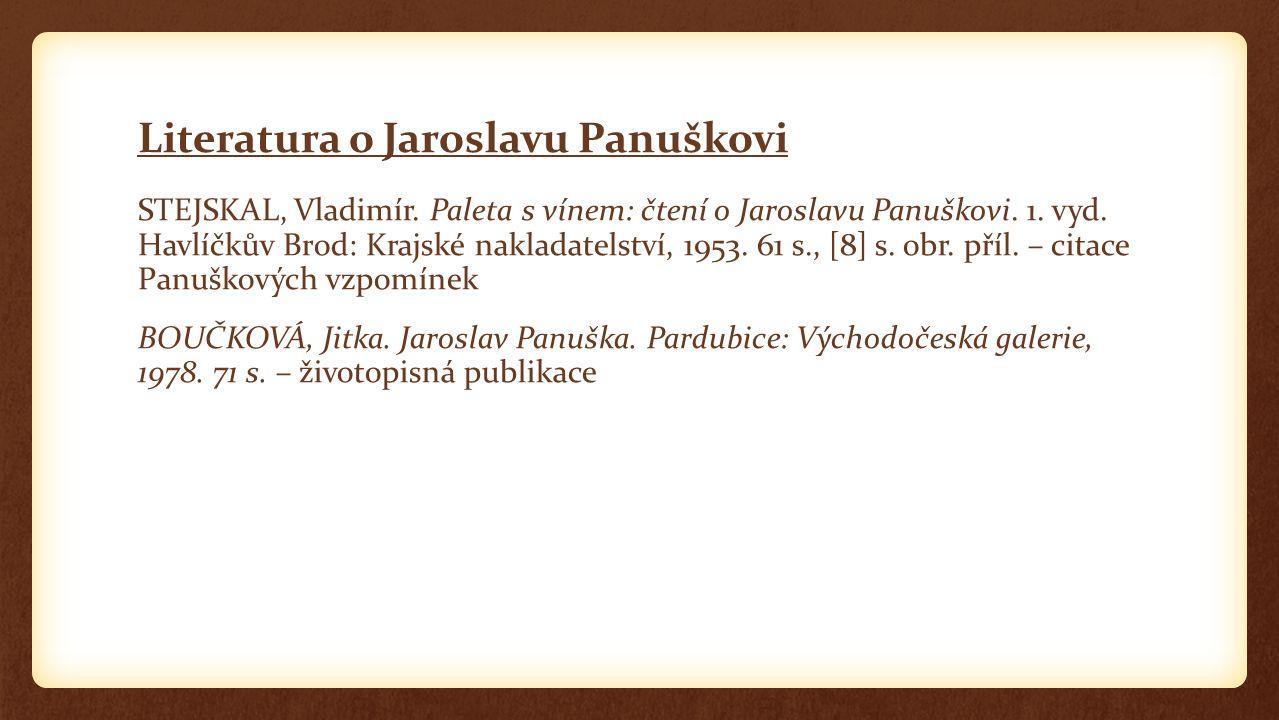 Literatura o Jaroslavu Panuškovi