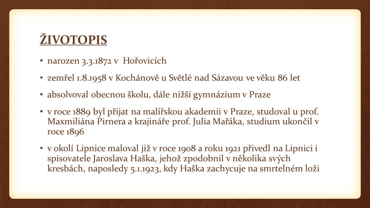 ŽIVOTOPIS narozen 3.3.1872 v Hořovicích