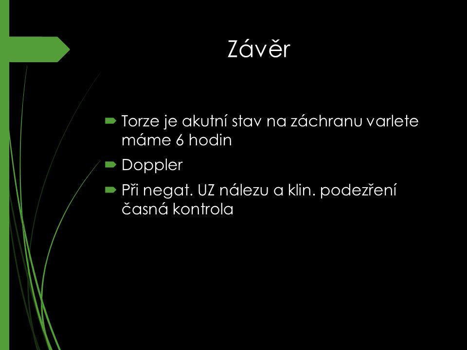 Závěr Torze je akutní stav na záchranu varlete máme 6 hodin Doppler
