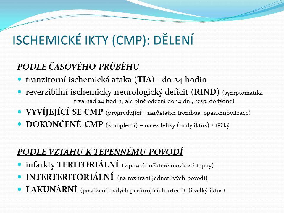 ISCHEMICKÉ IKTY (CMP): DĚLENÍ