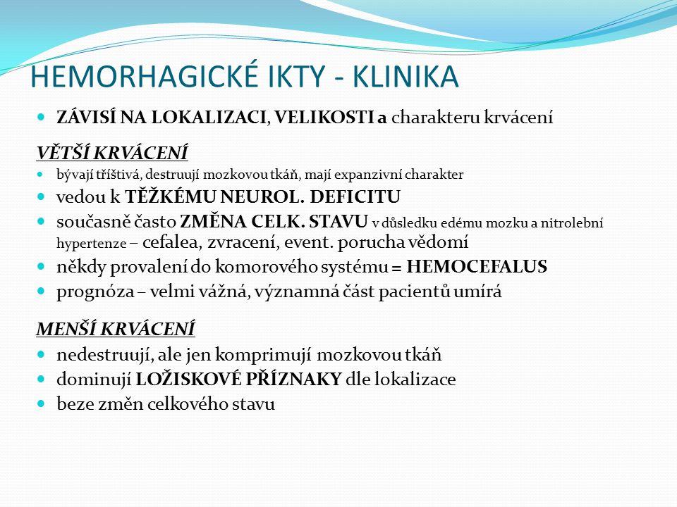HEMORHAGICKÉ IKTY - KLINIKA