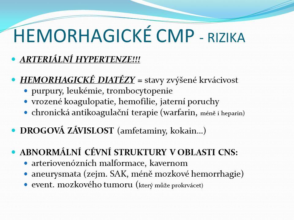 HEMORHAGICKÉ CMP - RIZIKA