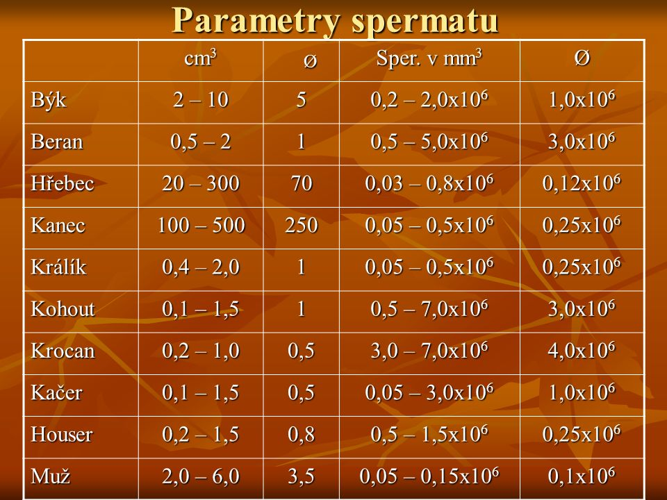 Parametry spermatu cm3 Sper. v mm3 Býk 2 – 10 5 0,2 – 2,0x106 1,0x106