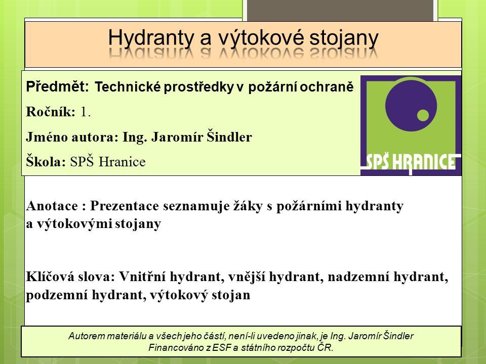Hydranty a výtokové stojany