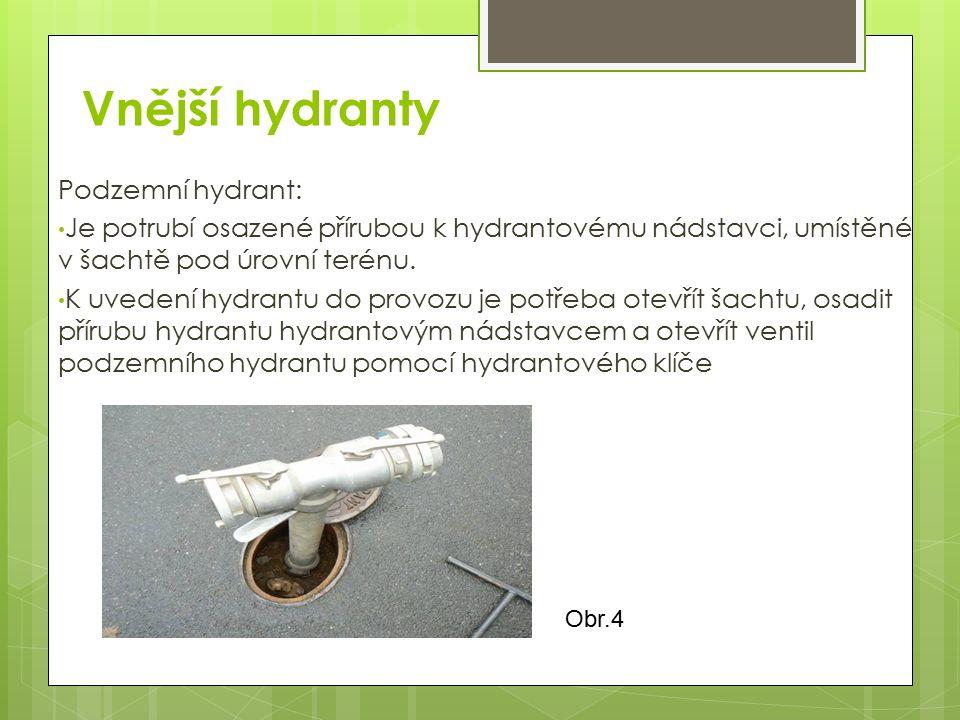 Vnější hydranty Podzemní hydrant: