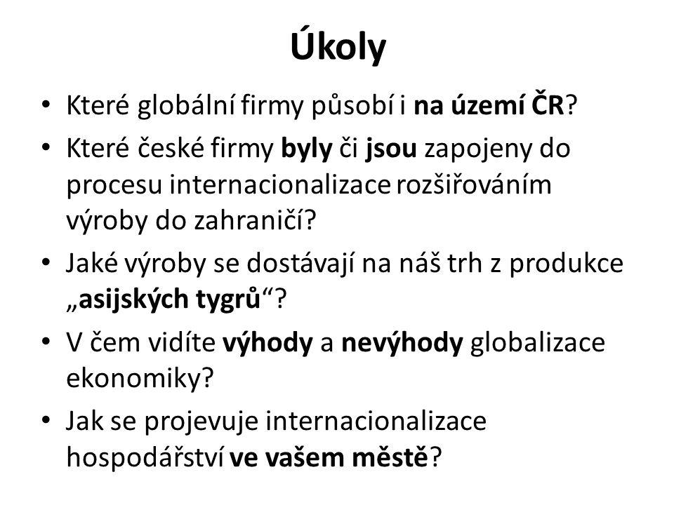 Úkoly Které globální firmy působí i na území ČR