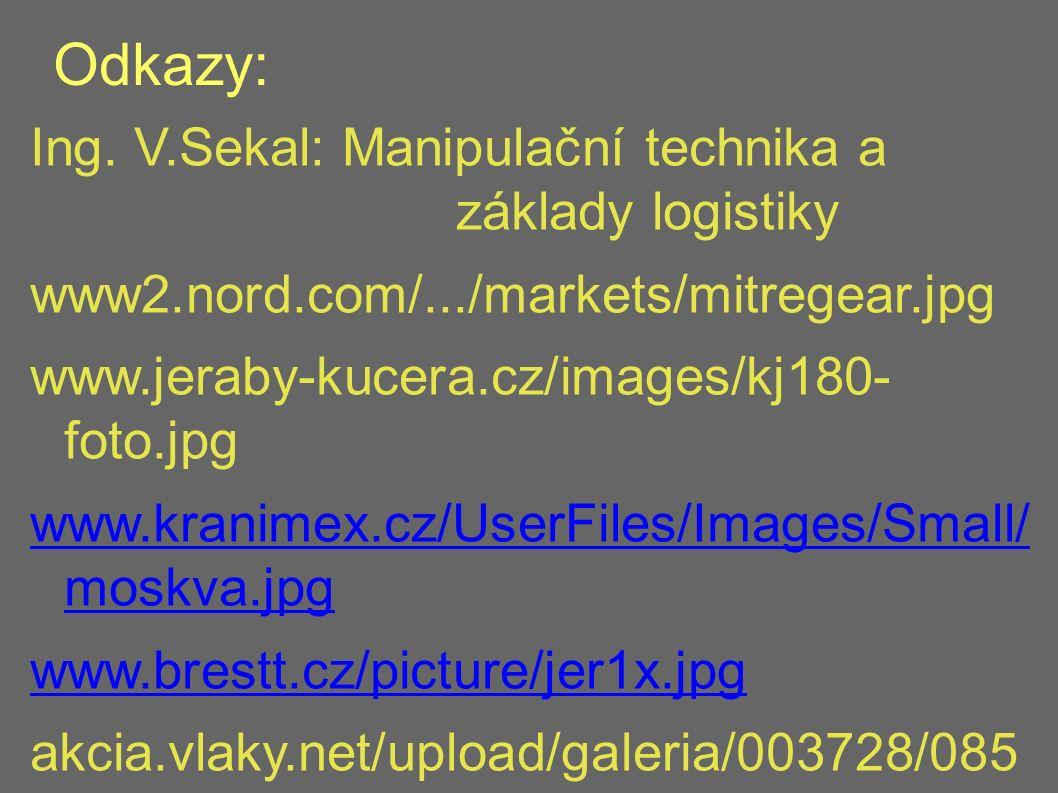 Odkazy: Ing. V.Sekal: Manipulační technika a základy logistiky