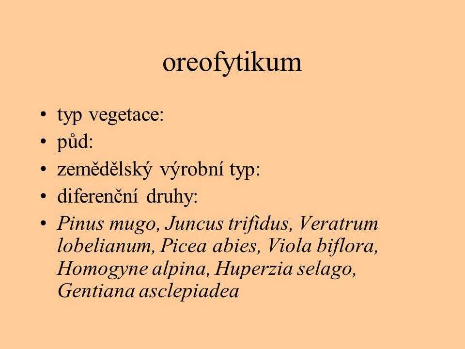 oreofytikum typ vegetace: půd: zemědělský výrobní typ:
