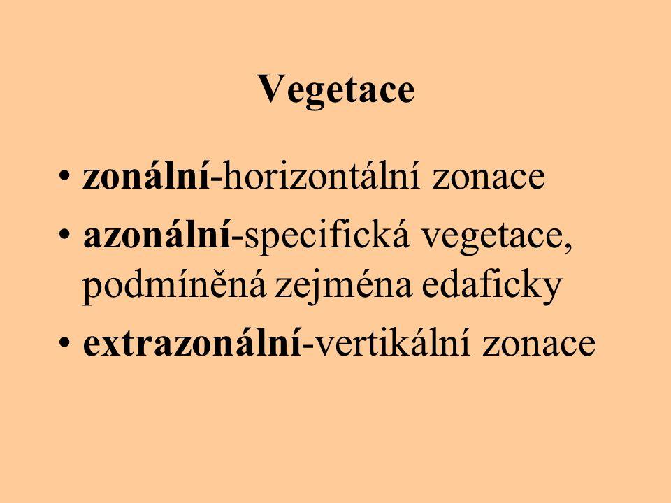 Vegetace zonální-horizontální zonace. azonální-specifická vegetace, podmíněná zejména edaficky.