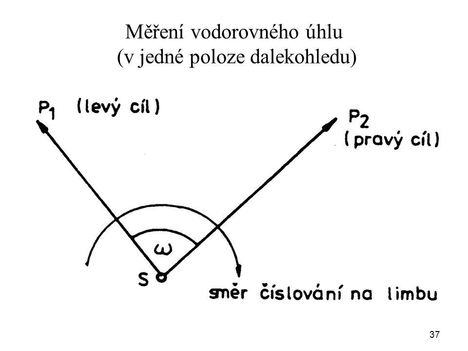 Měření vodorovného úhlu (v jedné poloze dalekohledu)