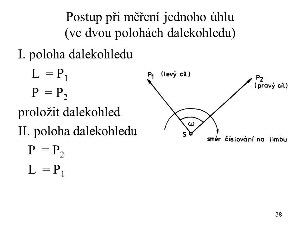 Postup při měření jednoho úhlu (ve dvou polohách dalekohledu)