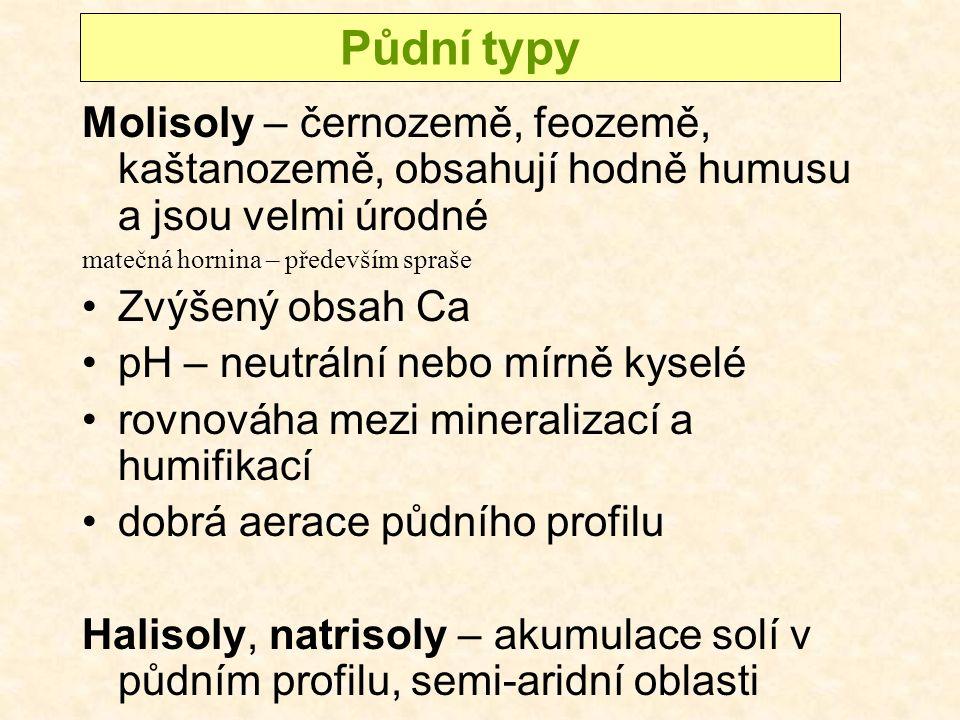 Půdní typy Molisoly – černozemě, feozemě, kaštanozemě, obsahují hodně humusu a jsou velmi úrodné. matečná hornina – především spraše.