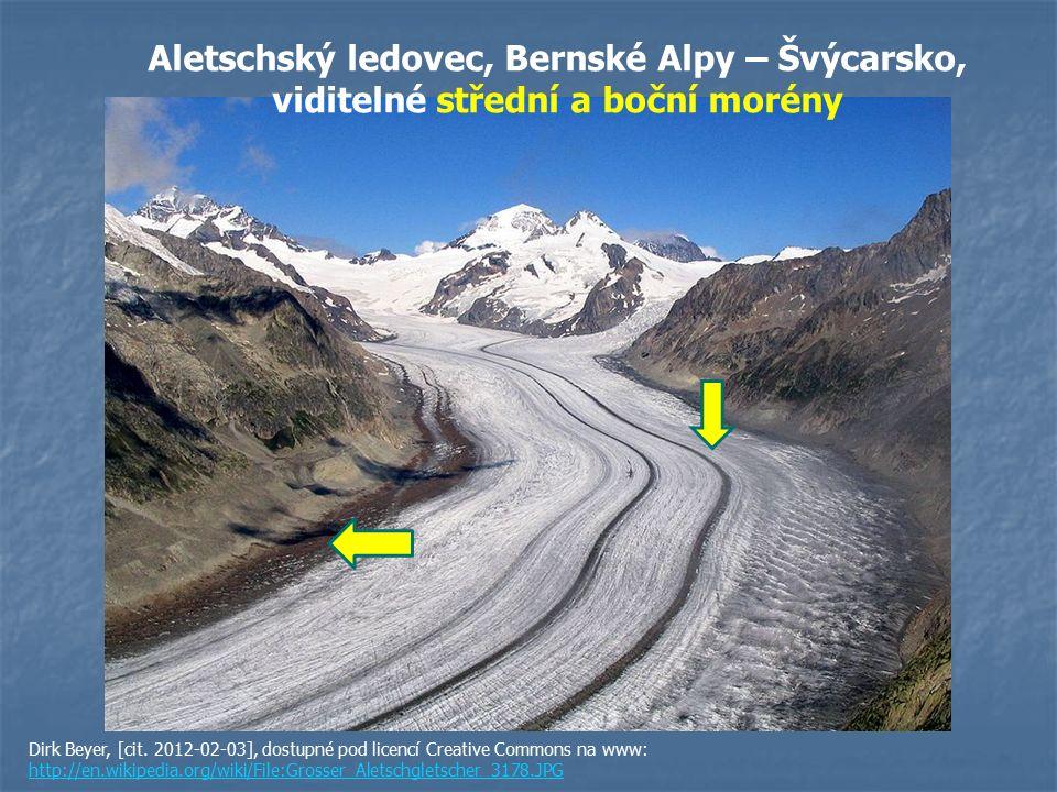 Aletschský ledovec, Bernské Alpy – Švýcarsko, viditelné střední a boční morény
