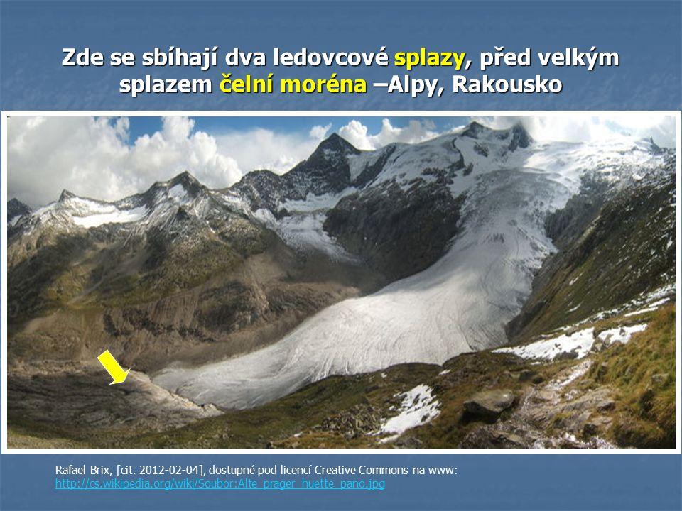 Zde se sbíhají dva ledovcové splazy, před velkým splazem čelní moréna –Alpy, Rakousko